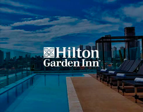 Hilton Garden Inn. É Hilton<br /> Worldwide. É hospitalidade